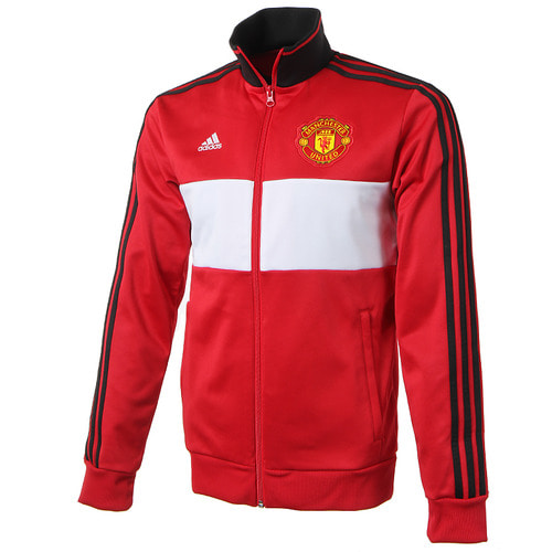 17-18 Manchester United 3 Stripe Track Top - Red
