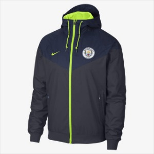 [해외][Order] 18-19 Manchester City Authentic Woven Windrunner - Dark Obsidian/Midnight Navy/Volt
