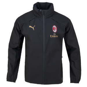 18-19 AC Milan Rain Jacket - Black