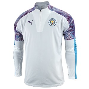19-20 Manchester City 1/4 Zip Training Top - White