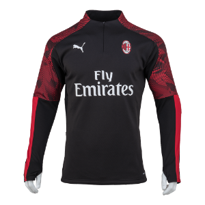 19-20 AC Milan Training Fleece Top - Black