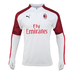 19-20 AC Milan 1/4 Zip Top - White