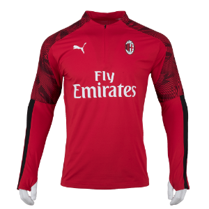 19-20 AC Milan 1/4 Zip Top - Red