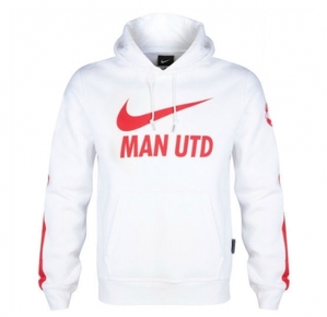 14-15 Manchester United Core Hooded Top - White (Size:M)