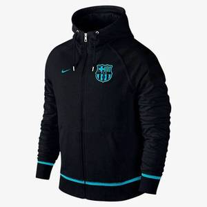 [해외][Order] 15-16 Barcelona Authentic AW77  Full Zip Hoody - Black/Light Current Blue