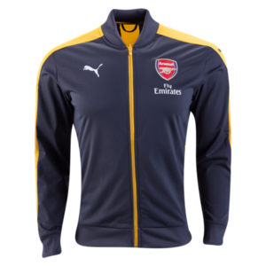 [해외][Order] 16-17 Arsenal Stadium Jacket With Sponsor - Ebony/Spectra Yellow