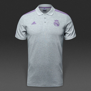 [해외][Order] 16-17 Real Madrid 3 Stripe Polo - Medium Grey Heather/Ray Purple