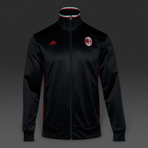 [해외][Order] 16-17 AC Milan 3 Stripe Track Top - Black/Victory Red
