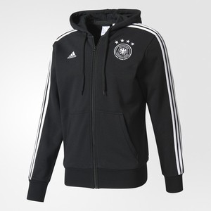 [해외][Order] 17 Germany (DFB) 3 Stripe FZ(Full-Zip) Hoodie - Black/White