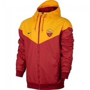 [해외][Order] 17-18 AS Roma  Authentic Woven Windrunner Jacket - Maroon/Yellow