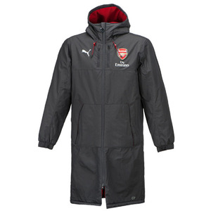17-18 Arsenal Long Bench Jacket - Grey/Red