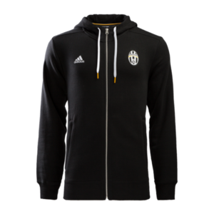 16-17 Juventus 3 Stripe Hooded Zip - Black/White