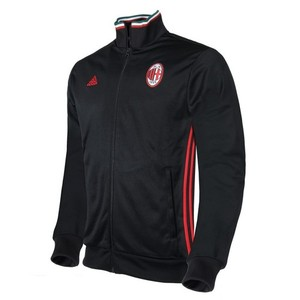 16-17 AC Milan 3 Stripe Track Top - Black/Victory Red