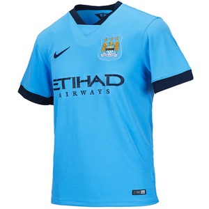 14-15 Manchester City Home + 10 KUN KUN AGUERO + 13-14 FAPL Champions Patch (Size:XL)
