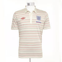 09-11 England After Match Stripe Polo - Swan/Vermillion/White/Iron