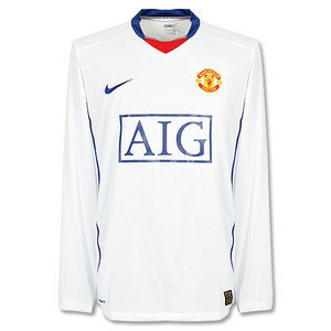 08-09 Manchester United Away L/S + 13.J.S.Park + 07/08 FAPL Champs Patch(Size:M)