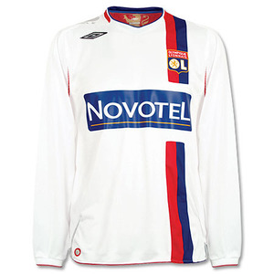 07-08 Lyon Home L/S + 10 BENZEMA + Champion De France Patch +Full Spon Set (Size:M)