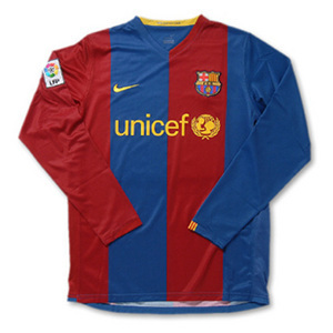 06-07 Barcelona Home L/S + 7 GUDJOHNSEN + UNICEF Spon + LFP Player + TV3 (Size:M)