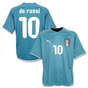 09-10 ITALY Home(Confederations Cup Shirt) + 10 DE ROSSI + 2006 World Champions Patch (Size:M)