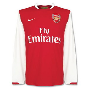 07-08 Arsenal Home L/S + 7 ROSICKY + Premier League Patch(Size:M)