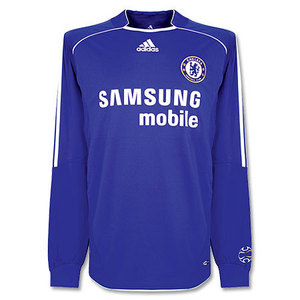 06-08 Chelsea Champion League Home L/S + 7.SHEVCHENKO + Champions League Patch (Size:M)