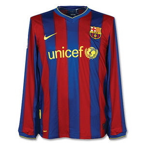 09-10 FC Barcelona Home L/S + 14 HENRY + 2009 Club World Chmapions Patch