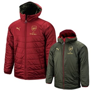 18-19 Arsenal Reversible Bench Jacket - Pomegranate/Forest Night