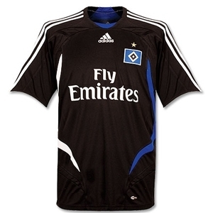 07-08 Hamburg SV Away + 23 VAN DER VAART + Bundes Liga Patch Set (Size:M)